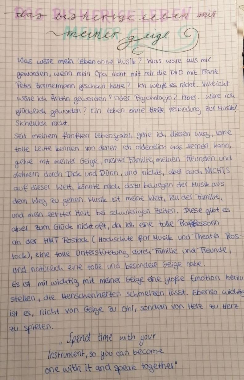 Leandras Brief für den Künstlerkalender