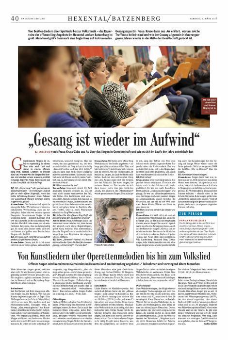 Interview Fraua Kruse-Zaiss mit BZ März 2018