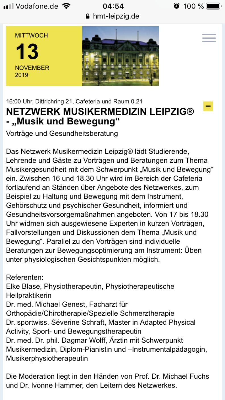 Gesundheitstag HMT Leipzig 13.11.2019 w/ Netzwerk Musikermedizin Leipzig