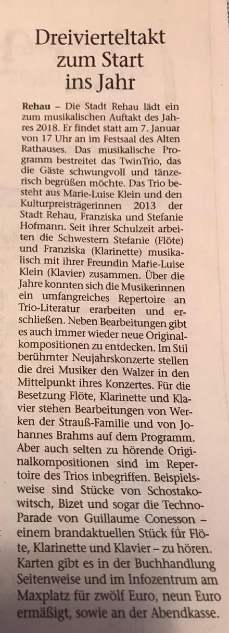 TwinTRIO 2018,Stefanie Hofmann (Flöte), Franziska  Hofmann (Klarinette), Marie -Luise Klewer (Klavier)