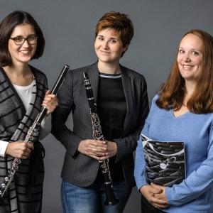 TwinTRIO (1), Stefanie Hofmann (Flöte), Franziska Hofmann (Klarinette), Marie-Luise Klewer (Klavier)