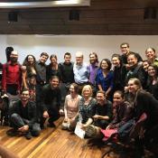 """San José/ Costa Rica: Dozenten und Teilnehmer des Kurses """"Vogelruf"""" nach dem Abschlusskonzert im Februar 2018"""