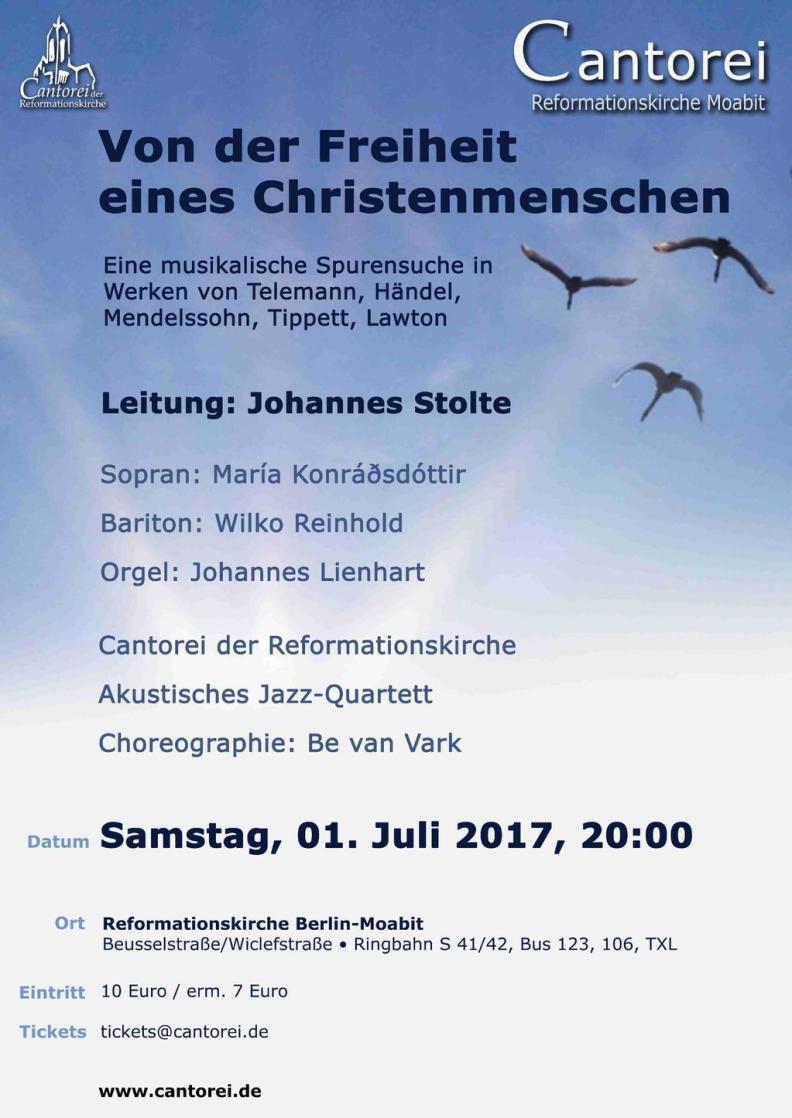 """Konzert """"Von der Freiheit eines Christenmenschen"""" - Händel - Occasional Oratorio - Tippett - Five Spirituals"""