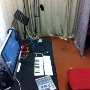 Unser improvisiertes Homestudio in der Musikschule Bochum