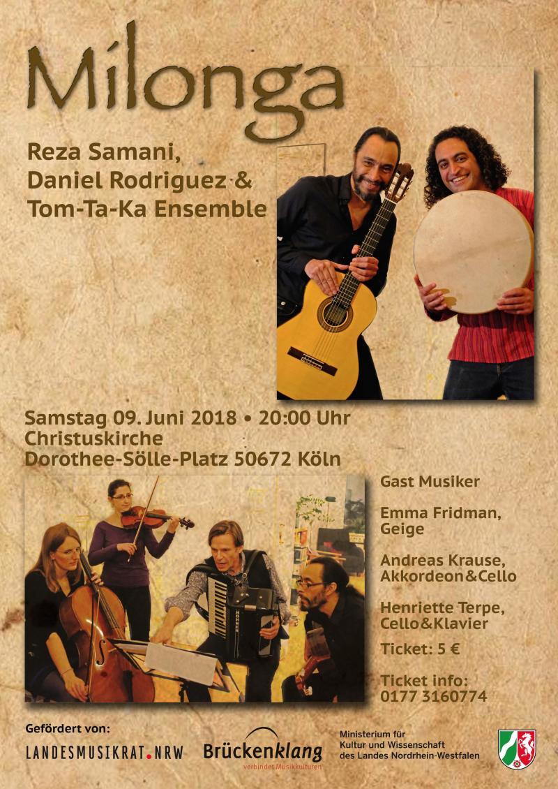 Reza Samani, Perkussion  Daniel Rodriguez, Gitarre&Gesang  und das Tom-Ta-Ka-Ensemble (Perkussionsschüler von Reza Samani) spielen zusammen mit Emma Fridman (Geige), Andreas Krause (Akkordeon&Cello) und Henriette Terpe (Cello&Klavier) ein abwechselungsr